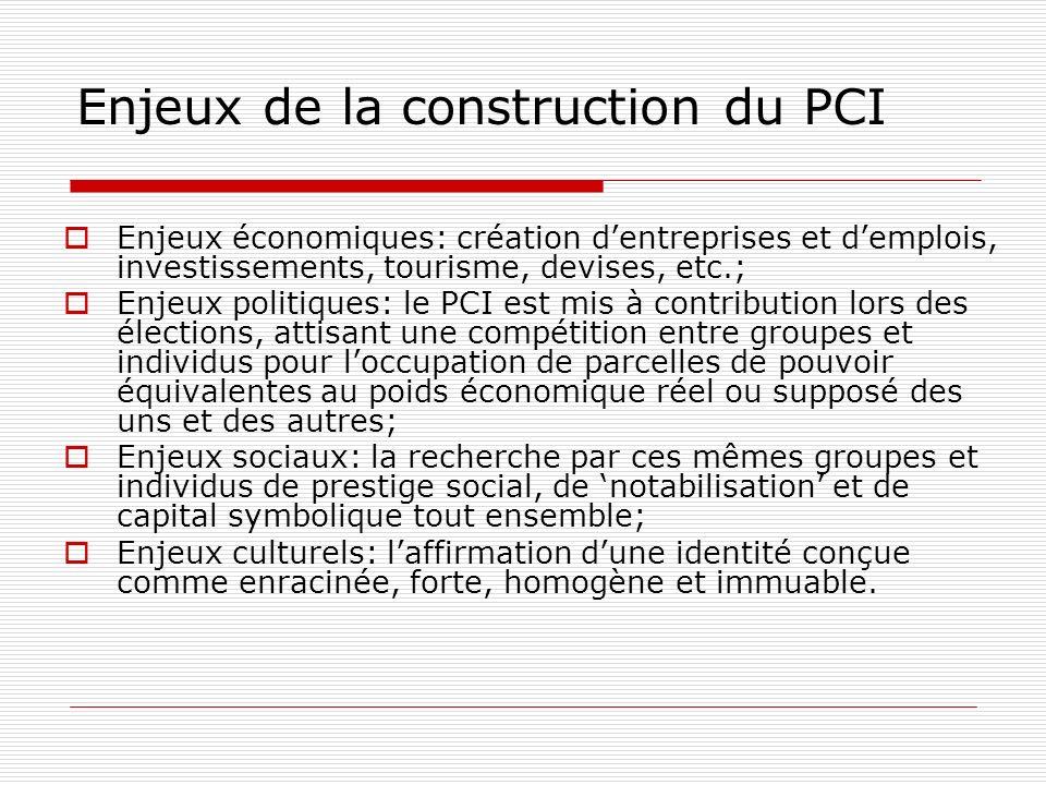Enjeux de la construction du PCI Enjeux économiques: création dentreprises et demplois, investissements, tourisme, devises, etc.; Enjeux politiques: l