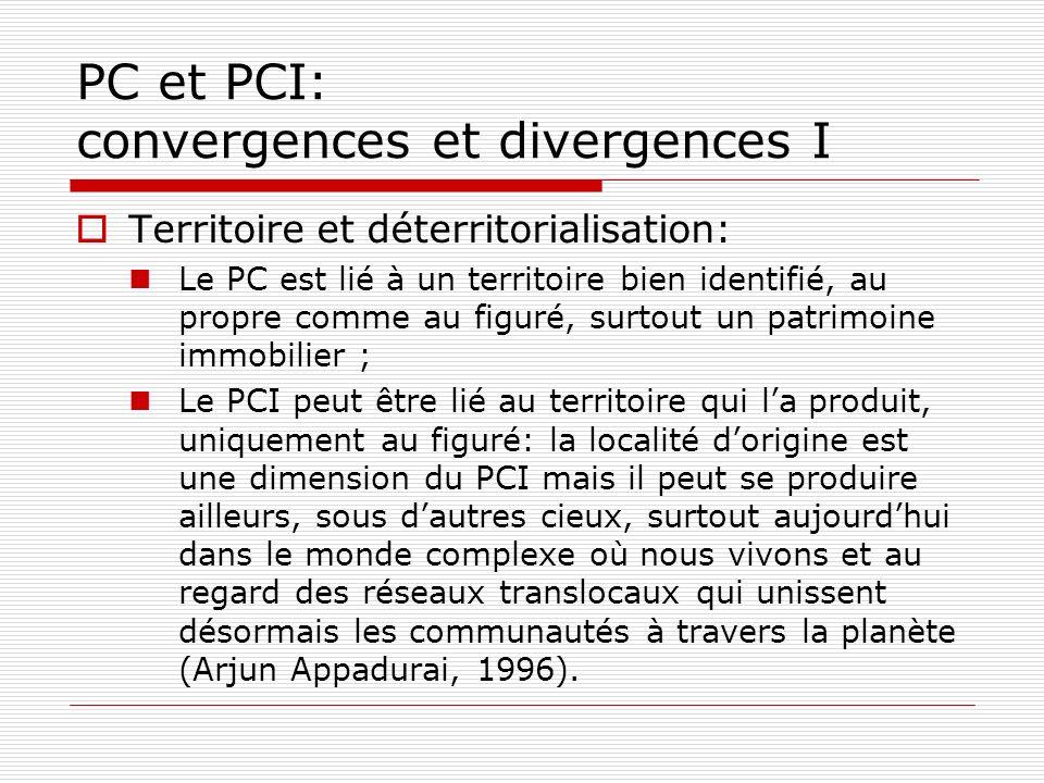 PC et PCI: convergences et divergences I Territoire et déterritorialisation: Le PC est lié à un territoire bien identifié, au propre comme au figuré,