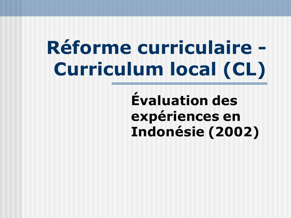 Réforme curriculaire - Curriculum local (CL) Évaluation des expériences en Indonésie (2002)