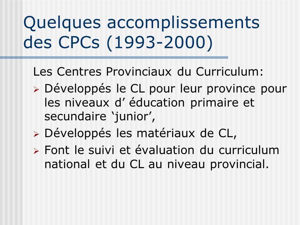 Quelques accomplissements des CPCs (1993-2000) Les Centres Provinciaux du Curriculum: Développés le CL pour leur province pour les niveaux d éducation primaire et secundaire junior, Développés les matériaux de CL, Font le suivi et évaluation du curriculum national et du CL au niveau provincial.