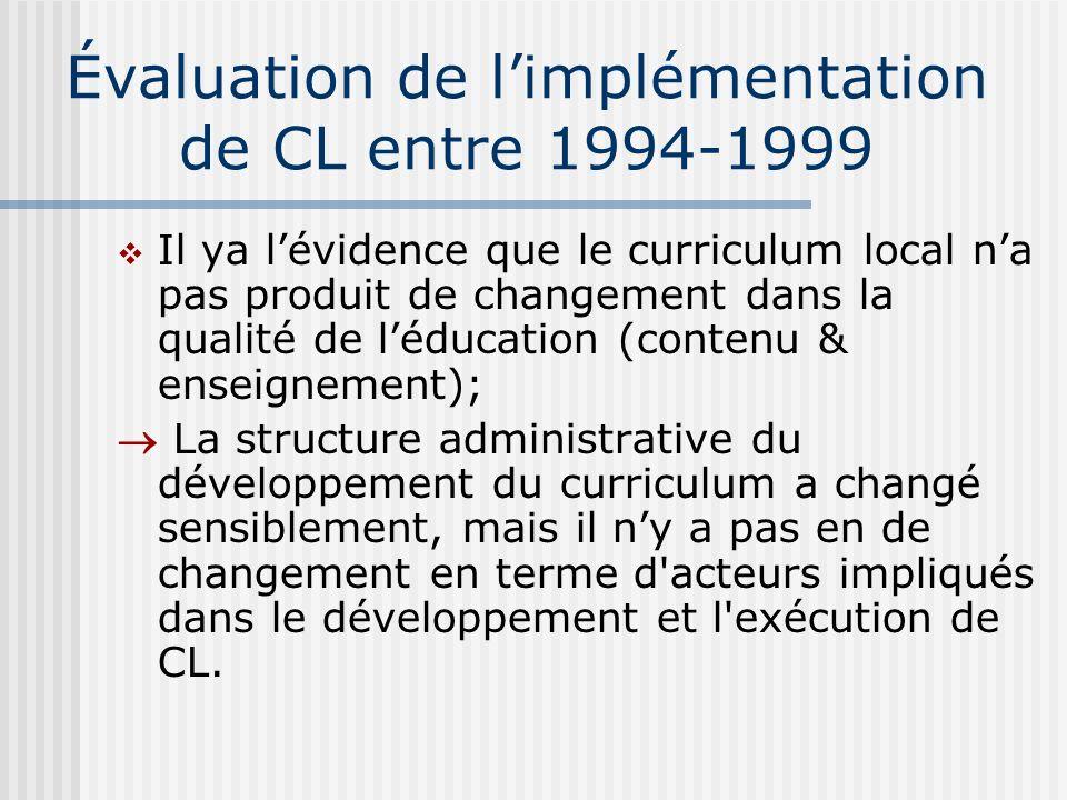 Évaluation de limplémentation de CL entre 1994-1999 Il ya lévidence que le curriculum local na pas produit de changement dans la qualité de léducation (contenu & enseignement); La structure administrative du développement du curriculum a changé sensiblement, mais il ny a pas en de changement en terme d acteurs impliqués dans le développement et l exécution de CL.