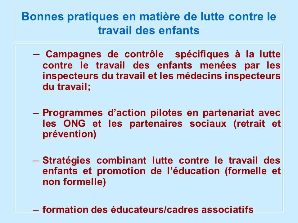 Bonnes pratiques en matière de lutte contre le travail des enfants – Campagnes de contrôle spécifiques à la lutte contre le travail des enfants menées