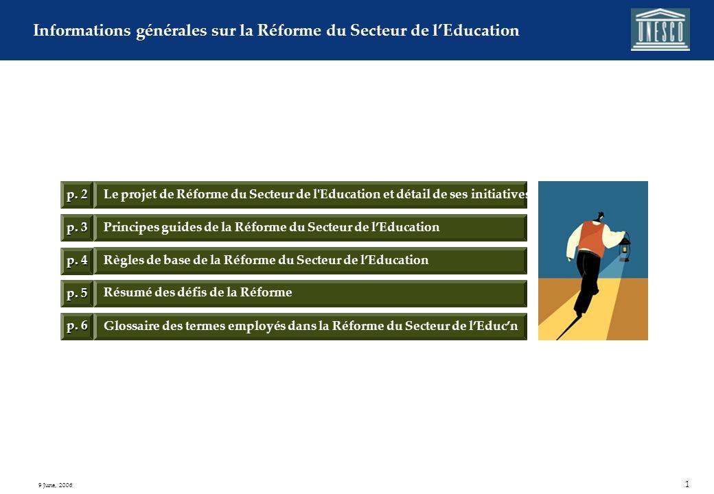 Informations générales sur la réforme du Secteur de lÉducation Référence : Vue d ensemble de la Réforme