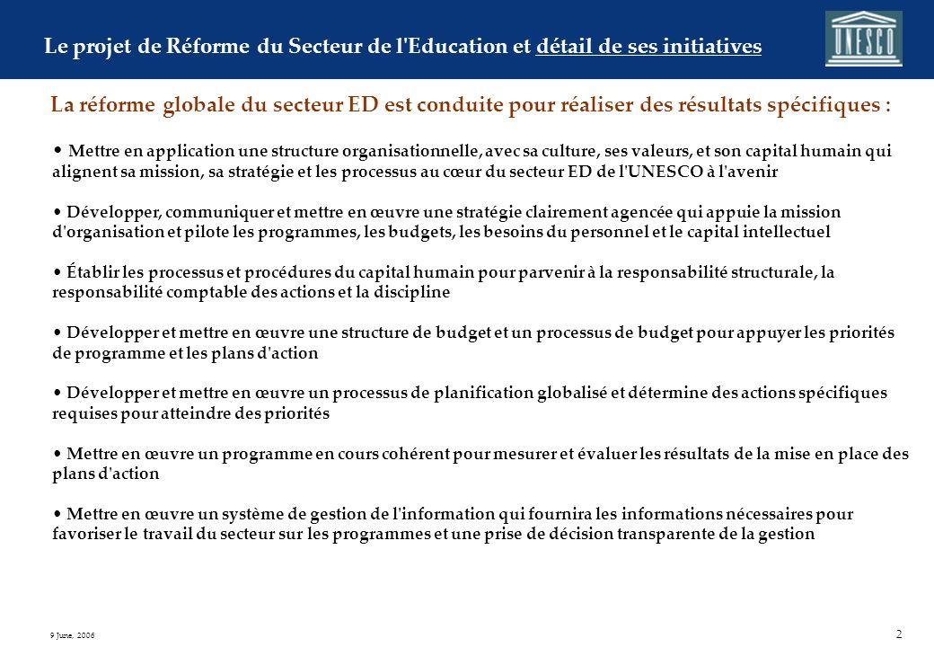 1 9 June, 2006 Informations générales sur la Réforme du Secteur de lEducation Principes guides de la Réforme du Secteur de lEducation p. 3 Diagnostic