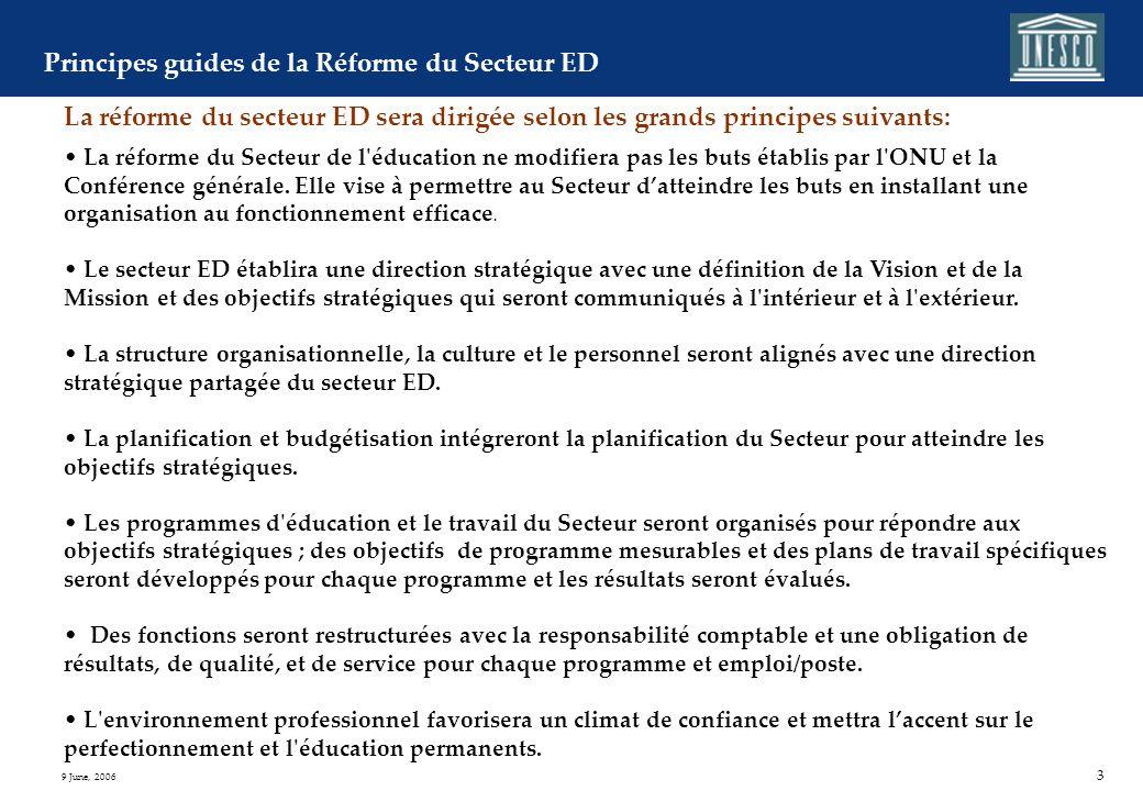 2 9 June, 2006 Le projet de Réforme du Secteur de l'Education et détail de ses initiatives La réforme globale du secteur ED est conduite pour réaliser