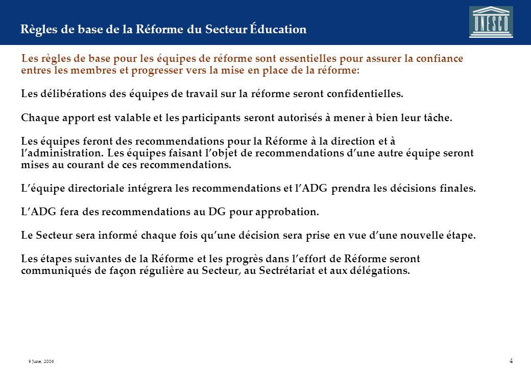 4 9 June, 2006 Règles de base de la Réforme du Secteur Éducation Les règles de base pour les équipes de réforme sont essentielles pour assurer la confiance entres les membres et progresser vers la mise en place de la réforme: Les délibérations des équipes de travail sur la réforme seront confidentielles.