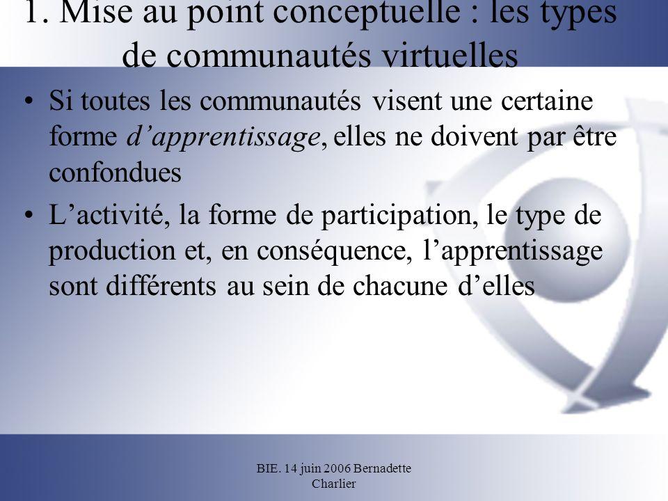 BIE. 14 juin 2006 Bernadette Charlier 1. Mise au point conceptuelle : les types de communautés virtuelles Si toutes les communautés visent une certain