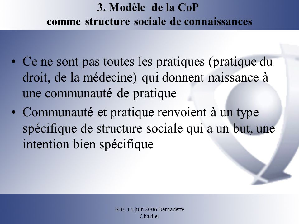 BIE. 14 juin 2006 Bernadette Charlier 3. Modèle de la CoP comme structure sociale de connaissances Ce ne sont pas toutes les pratiques (pratique du dr
