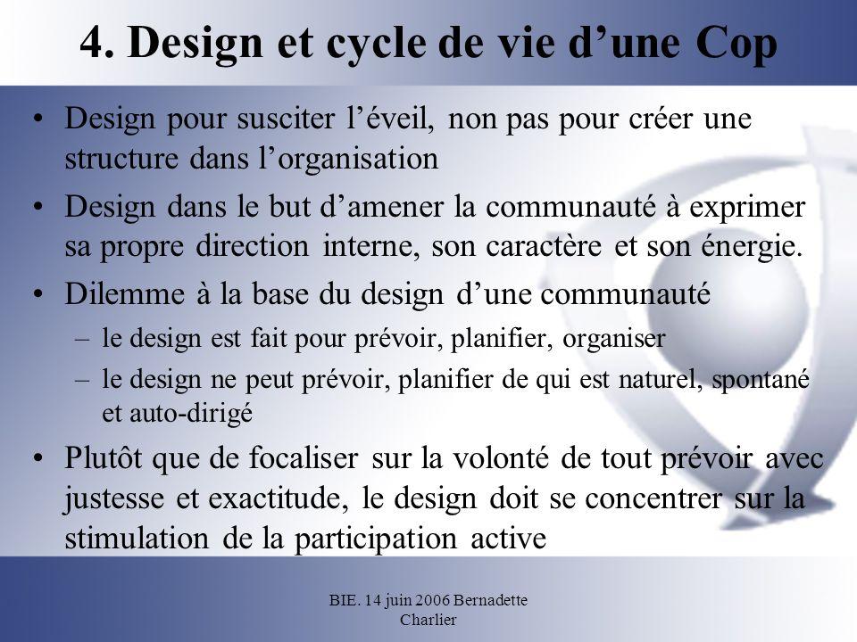 BIE. 14 juin 2006 Bernadette Charlier 4. Design et cycle de vie dune Cop Design pour susciter léveil, non pas pour créer une structure dans lorganisat