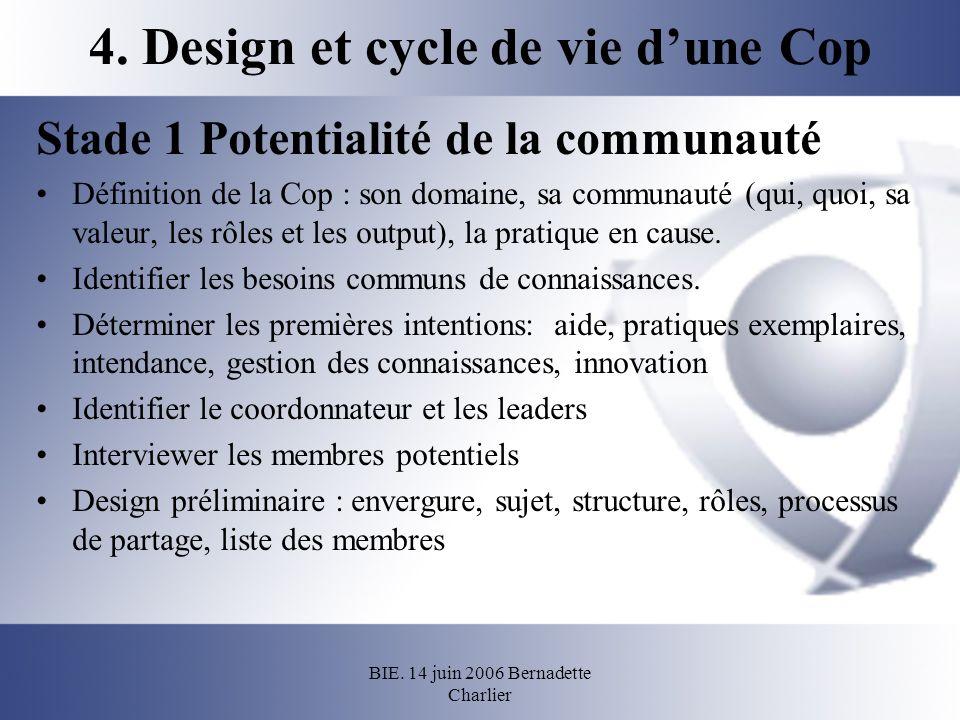BIE. 14 juin 2006 Bernadette Charlier 4. Design et cycle de vie dune Cop Stade 1 Potentialité de la communauté Définition de la Cop : son domaine, sa
