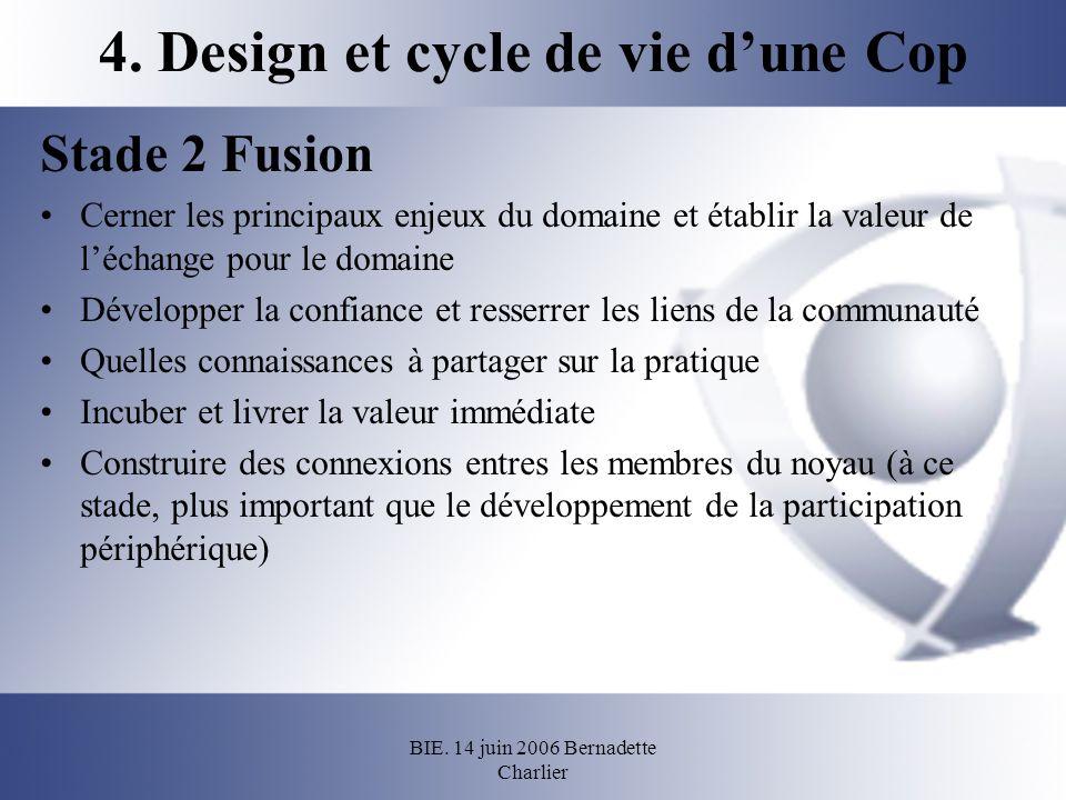 BIE. 14 juin 2006 Bernadette Charlier 4. Design et cycle de vie dune Cop Stade 2 Fusion Cerner les principaux enjeux du domaine et établir la valeur d