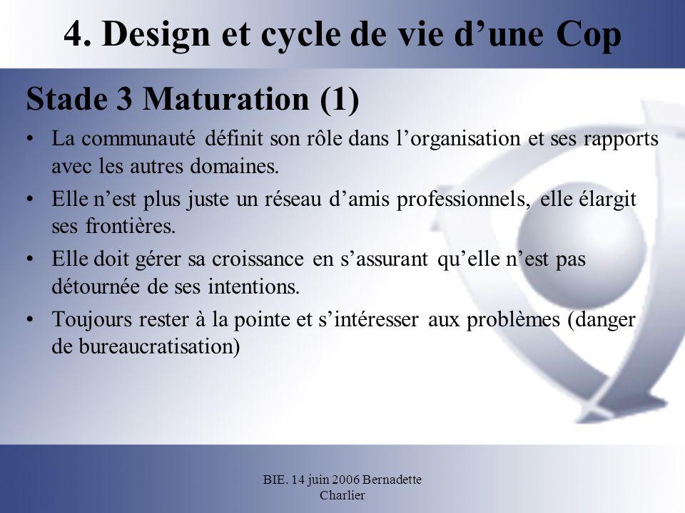 BIE. 14 juin 2006 Bernadette Charlier 4. Design et cycle de vie dune Cop Stade 3 Maturation (1) La communauté définit son rôle dans lorganisation et s