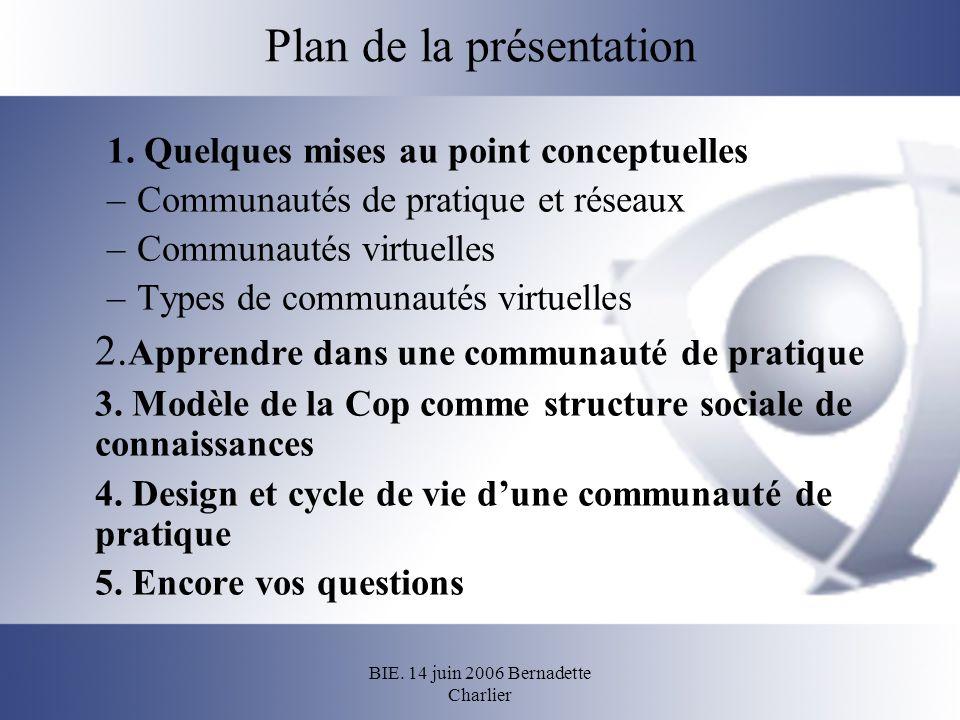 BIE. 14 juin 2006 Bernadette Charlier Plan de la présentation 1. Quelques mises au point conceptuelles –Communautés de pratique et réseaux –Communauté