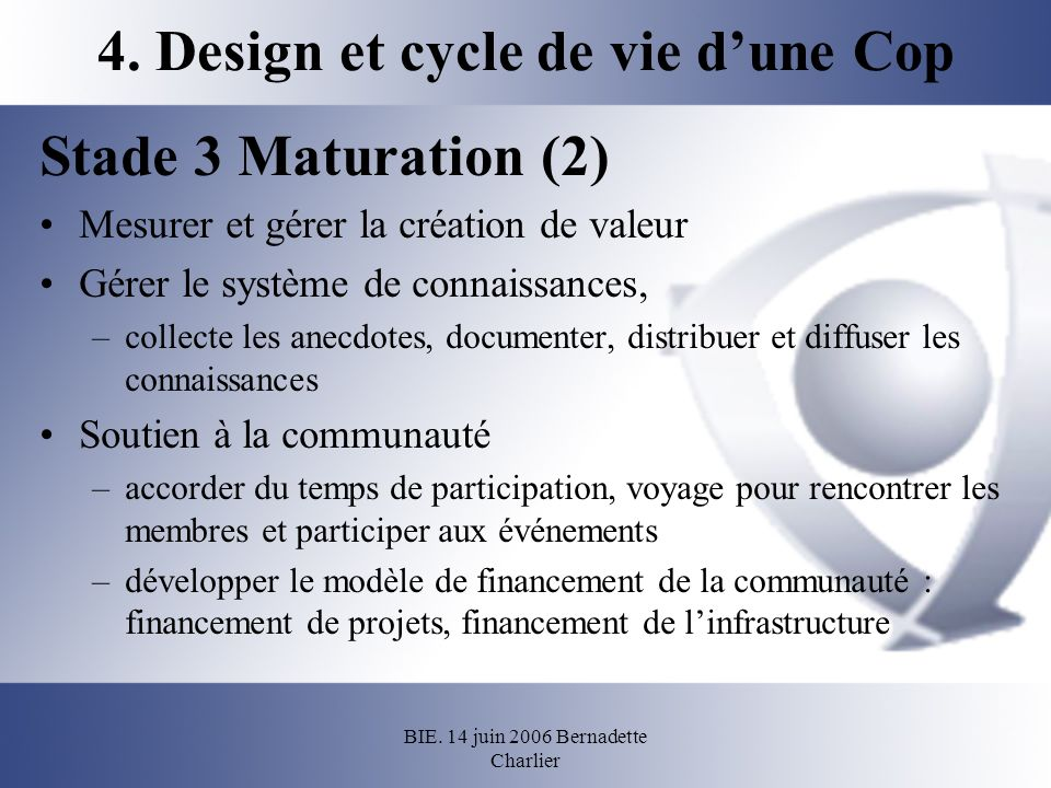 BIE. 14 juin 2006 Bernadette Charlier 4. Design et cycle de vie dune Cop Stade 3 Maturation (2) Mesurer et gérer la création de valeur Gérer le systèm