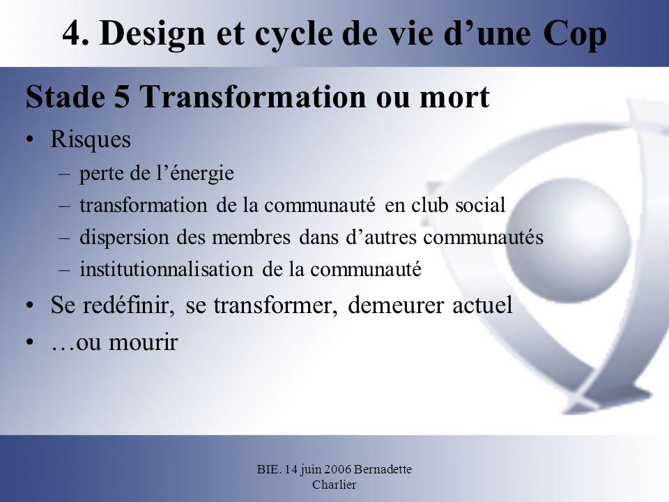 BIE. 14 juin 2006 Bernadette Charlier 4. Design et cycle de vie dune Cop Stade 5 Transformation ou mort Risques –perte de lénergie –transformation de