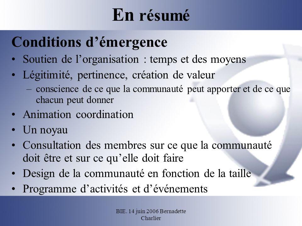 BIE. 14 juin 2006 Bernadette Charlier En résumé Conditions démergence Soutien de lorganisation : temps et des moyens Légitimité, pertinence, création