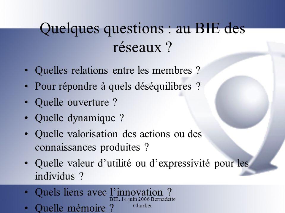 BIE. 14 juin 2006 Bernadette Charlier Quelques questions : au BIE des réseaux ? Quelles relations entre les membres ? Pour répondre à quels déséquilib