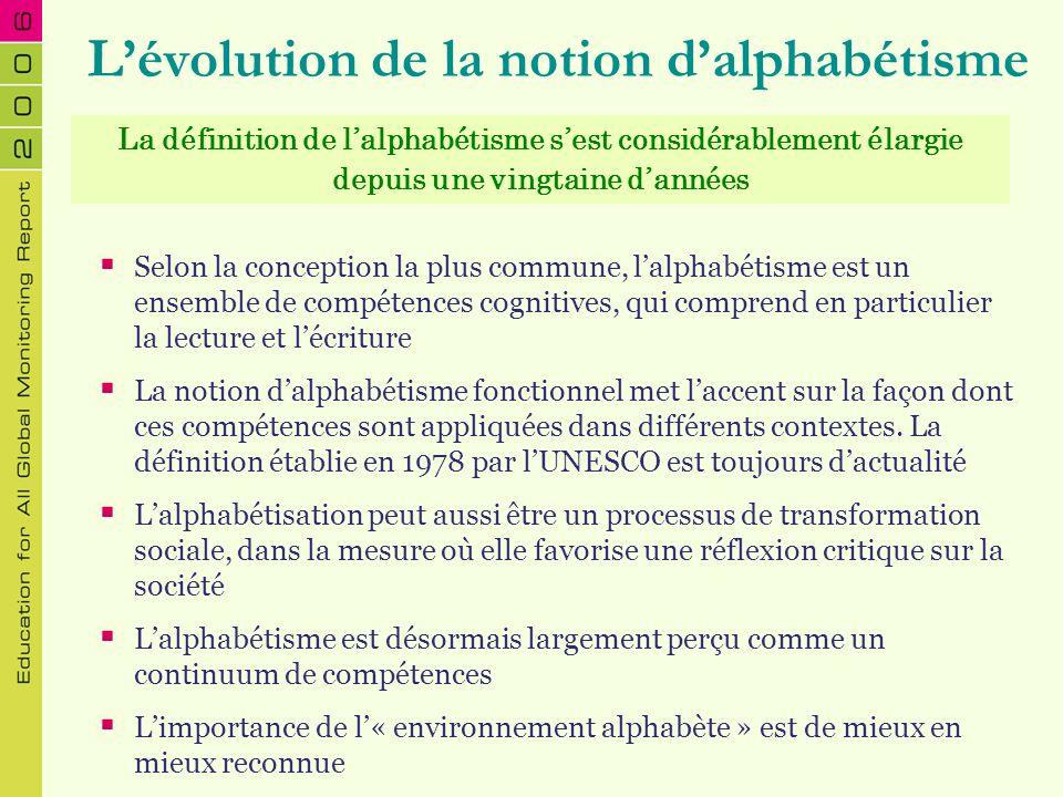 Lévolution de la notion dalphabétisme Selon la conception la plus commune, lalphabétisme est un ensemble de compétences cognitives, qui comprend en pa