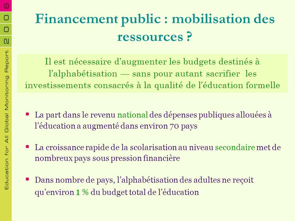 Financement public : mobilisation des ressources ? La part dans le revenu national des dépenses publiques allouées à léducation a augmenté dans enviro