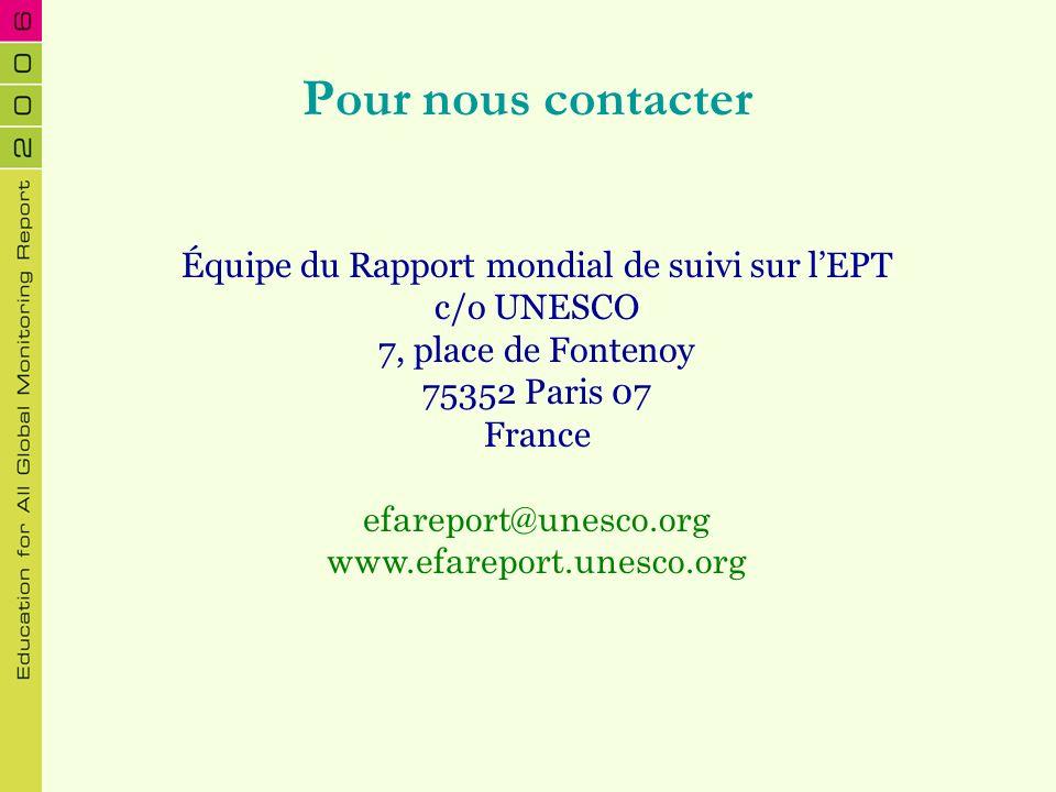Pour nous contacter Équipe du Rapport mondial de suivi sur lEPT c/o UNESCO 7, place de Fontenoy 75352 Paris 07 France efareport@unesco.org www.efarepo