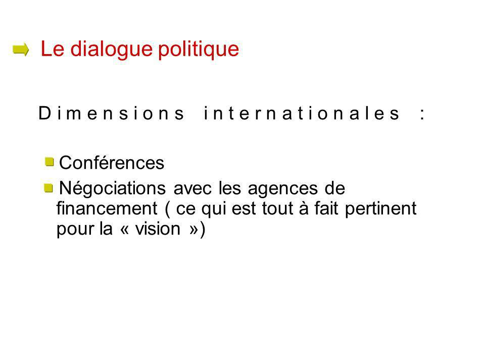Dimensions internationales : Conférences Négociations avec les agences de financement ( ce qui est tout à fait pertinent pour la « vision ») Le dialogue politique