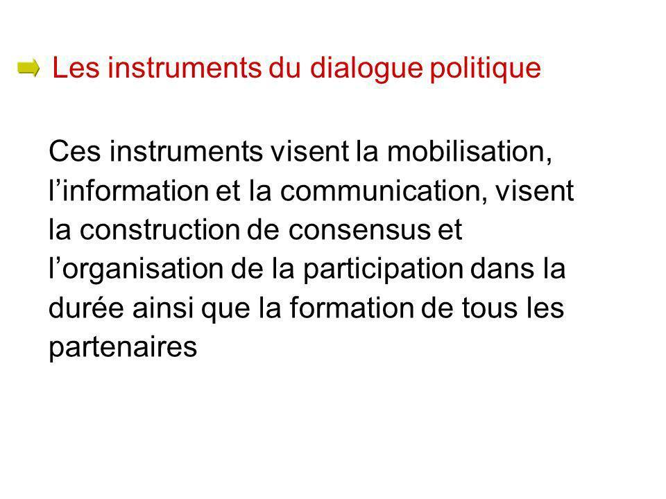 Ces instruments visent la mobilisation, linformation et la communication, visent la construction de consensus et lorganisation de la participation dans la durée ainsi que la formation de tous les partenaires Les instruments du dialogue politique