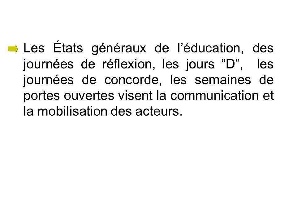Les États généraux de léducation, des journées de réflexion, les jours D, les journées de concorde, les semaines de portes ouvertes visent la communication et la mobilisation des acteurs.