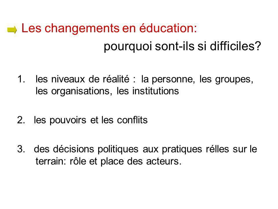 1.les niveaux de réalité : la personne, les groupes, les organisations, les institutions 2. les pouvoirs et les conflits 3. des décisions politiques a