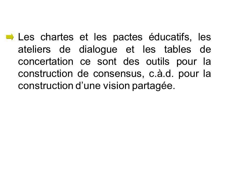 Les chartes et les pactes éducatifs, les ateliers de dialogue et les tables de concertation ce sont des outils pour la construction de consensus, c.à.d.