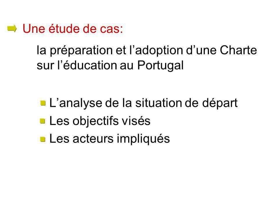 Lanalyse de la situation de départ Les objectifs visés Les acteurs impliqués la préparation et ladoption dune Charte sur léducation au Portugal Une ét