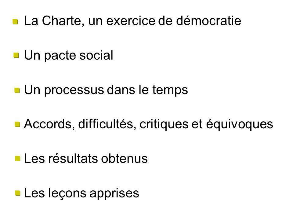 La Charte, un exercice de démocratie Un pacte social Un processus dans le temps Accords, difficultés, critiques et équivoques Les résultats obtenus Les leçons apprises