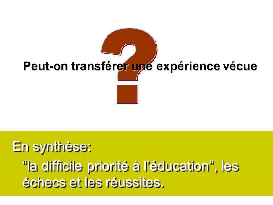 En synthèse: la difficile priorité à léducation, les échecs et les réussites.
