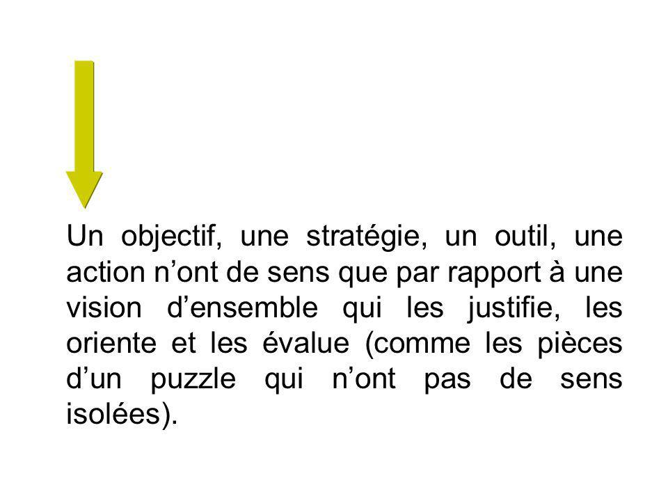 Un objectif, une stratégie, un outil, une action nont de sens que par rapport à une vision densemble qui les justifie, les oriente et les évalue (comme les pièces dun puzzle qui nont pas de sens isolées).