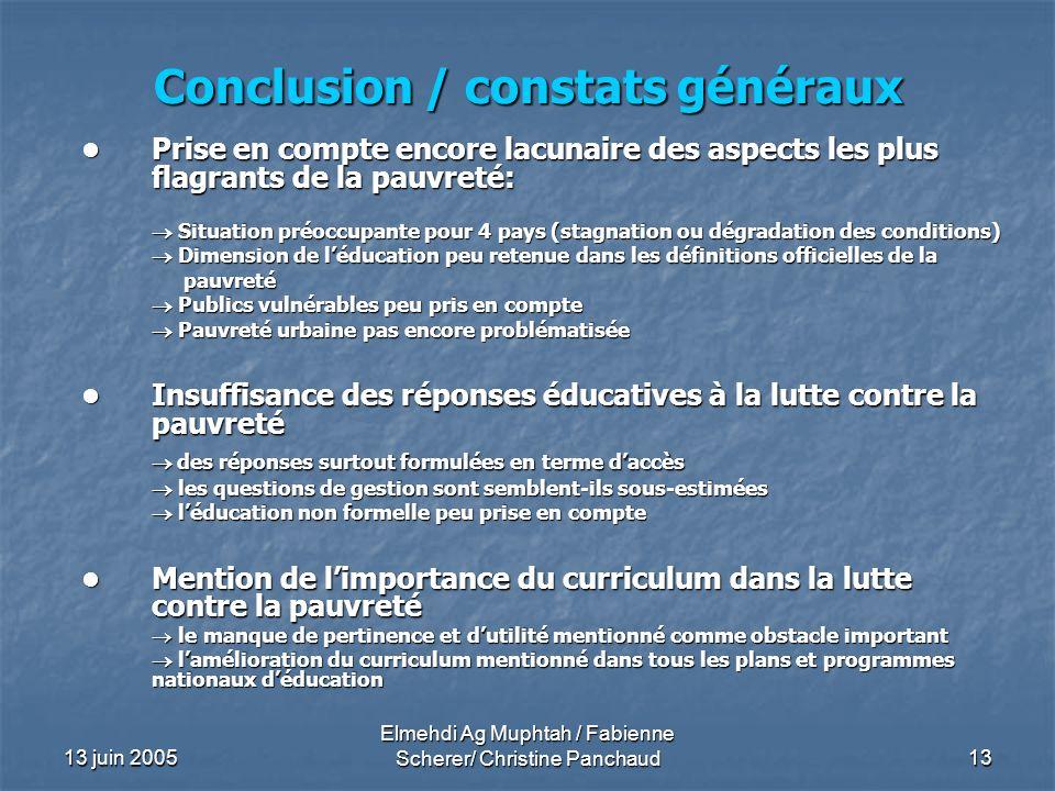 13 juin 2005 Elmehdi Ag Muphtah / Fabienne Scherer/ Christine Panchaud 13 Conclusion / constats généraux Prise en compte encore lacunaire des aspects
