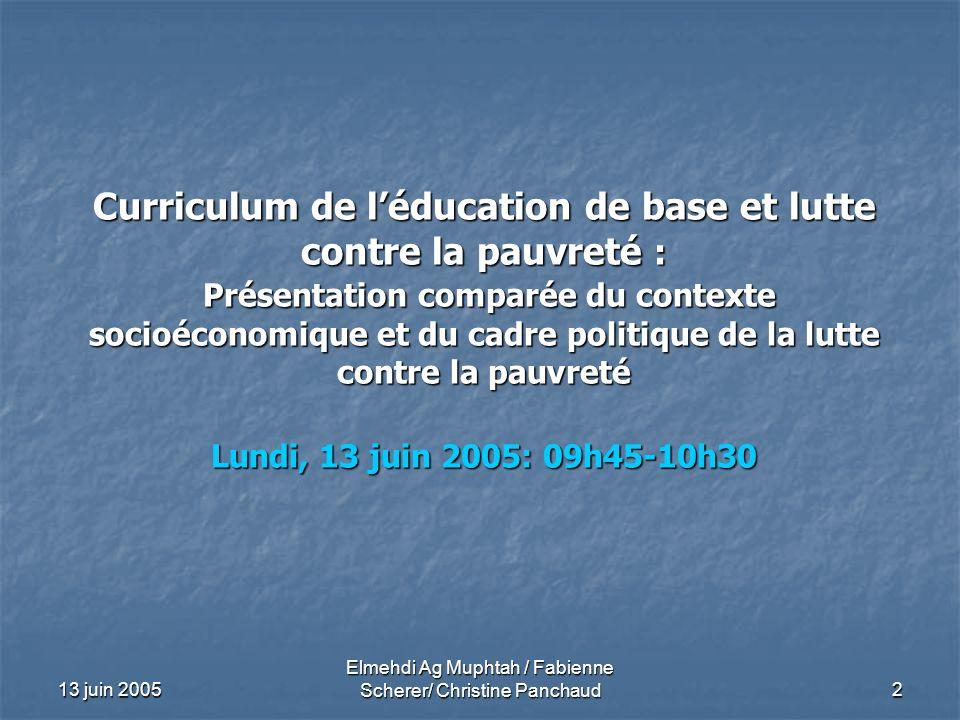 13 juin 2005 Elmehdi Ag Muphtah / Fabienne Scherer/ Christine Panchaud 2 Curriculum de léducation de base et lutte contre la pauvreté : Présentation c