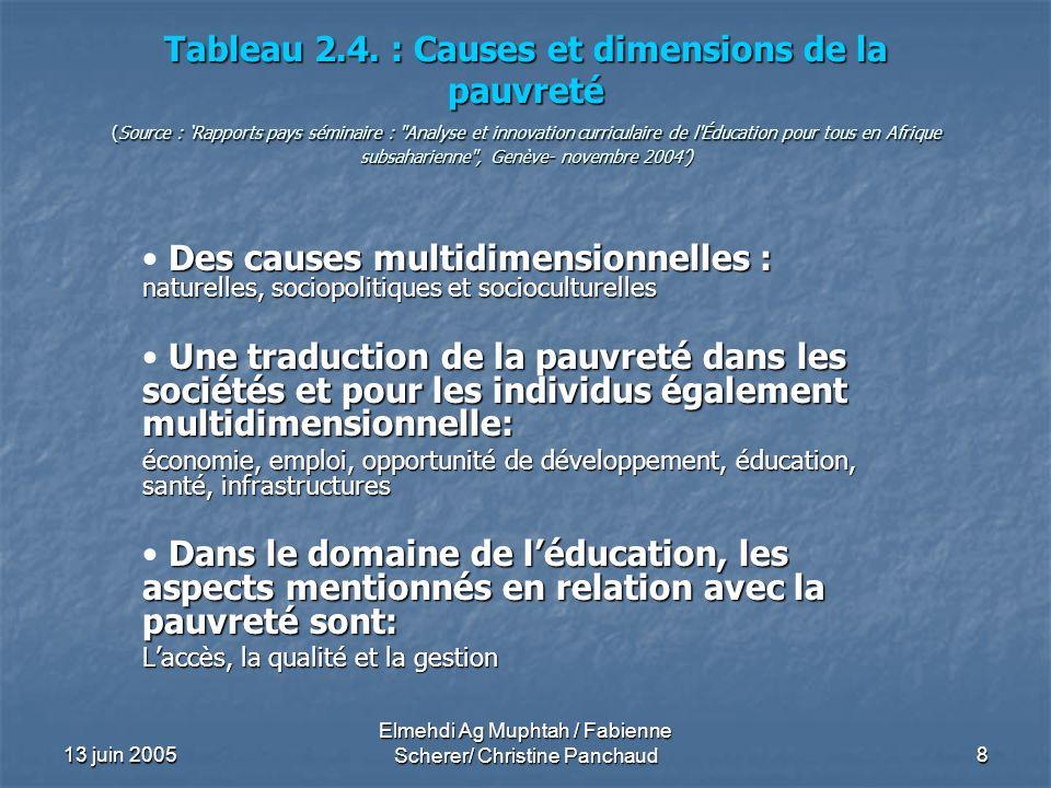 13 juin 2005 Elmehdi Ag Muphtah / Fabienne Scherer/ Christine Panchaud 8 Tableau 2.4. : Causes et dimensions de la pauvreté (Source : Rapports pays sé
