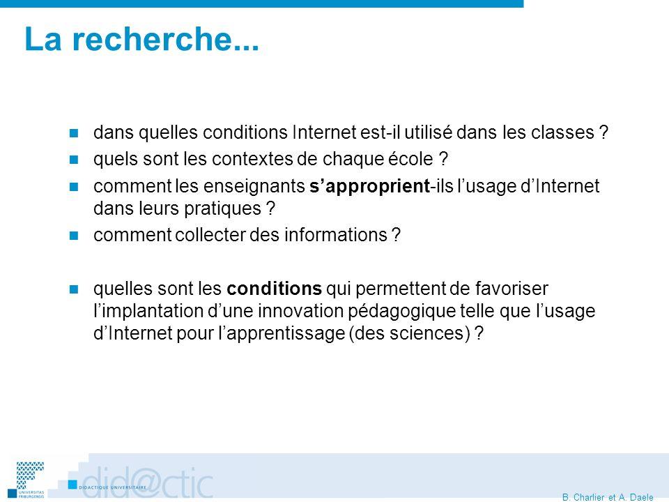 B. Charlier et A. Daele La recherche...