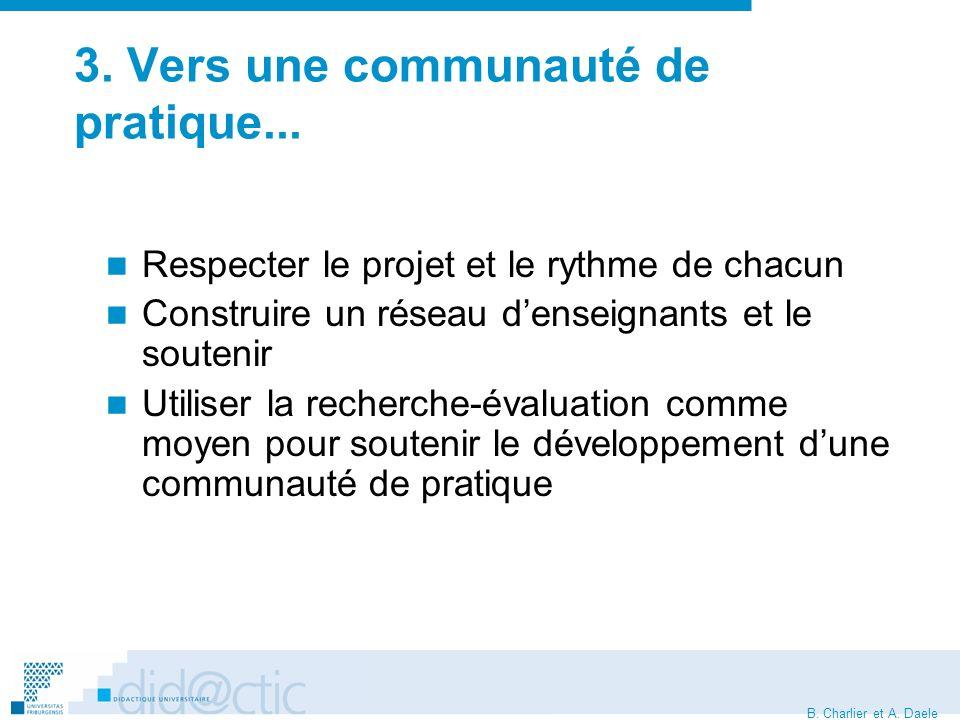 B. Charlier et A. Daele 3. Vers une communauté de pratique...