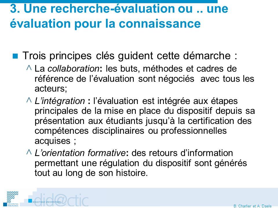 B. Charlier et A. Daele 3. Une recherche-évaluation ou..