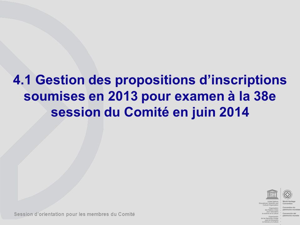 Session dorientation pour les membres du Comité 4.1 Gestion des propositions dinscriptions soumises en 2013 pour examen à la 38e session du Comité en juin 2014