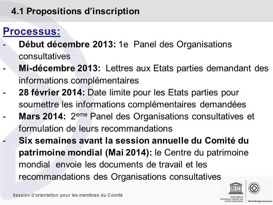 Session dorientation pour les membres du Comité 4.1 Propositions dinscription Processus: -Juin/juillet 2014: La session annuelle du Comité du patrimoine mondial.