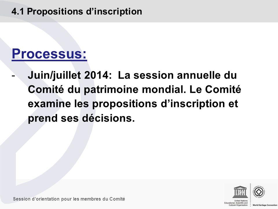 Session dorientation pour les membres du Comité Vérification: Le Secrétariat, en collaboration avec les Organisations consultatives, vérifie que la proposition dinscription est bien conforme avec les conditions décrites dans les Orientations, en particulier au paragraphe 132 et annexe 5 4.1 Propositions dinscription