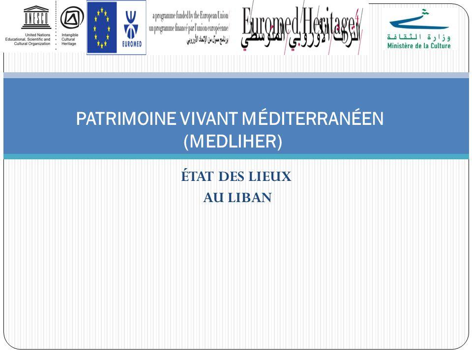 ÉTAT DES LIEUX AU LIBAN PATRIMOINE VIVANT MÉDITERRANÉEN (MEDLIHER)