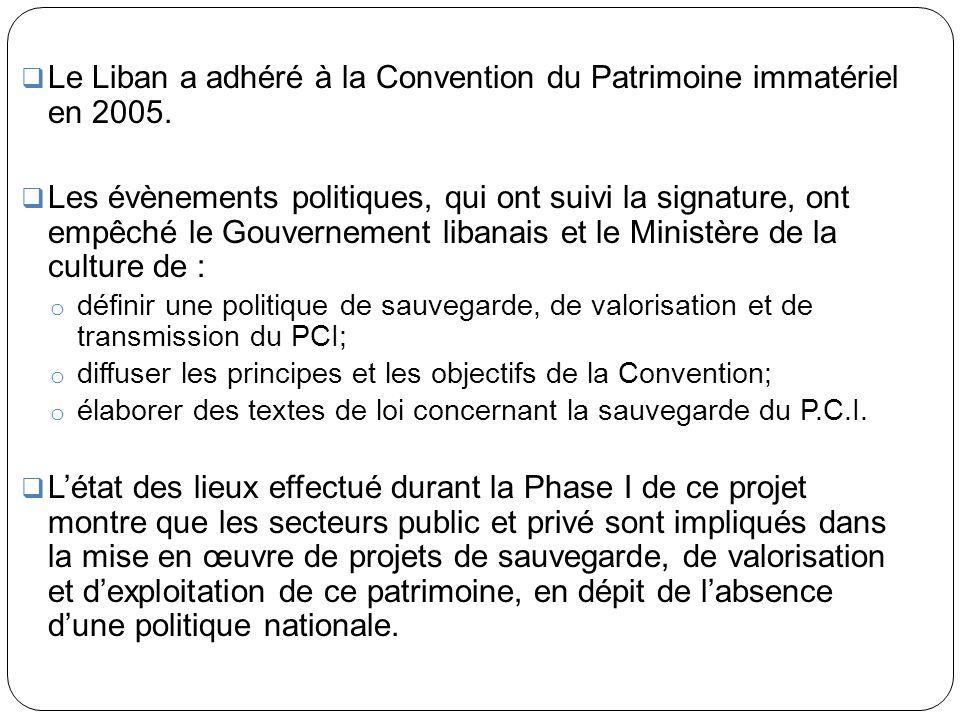 Le Liban a adhéré à la Convention du Patrimoine immatériel en 2005.