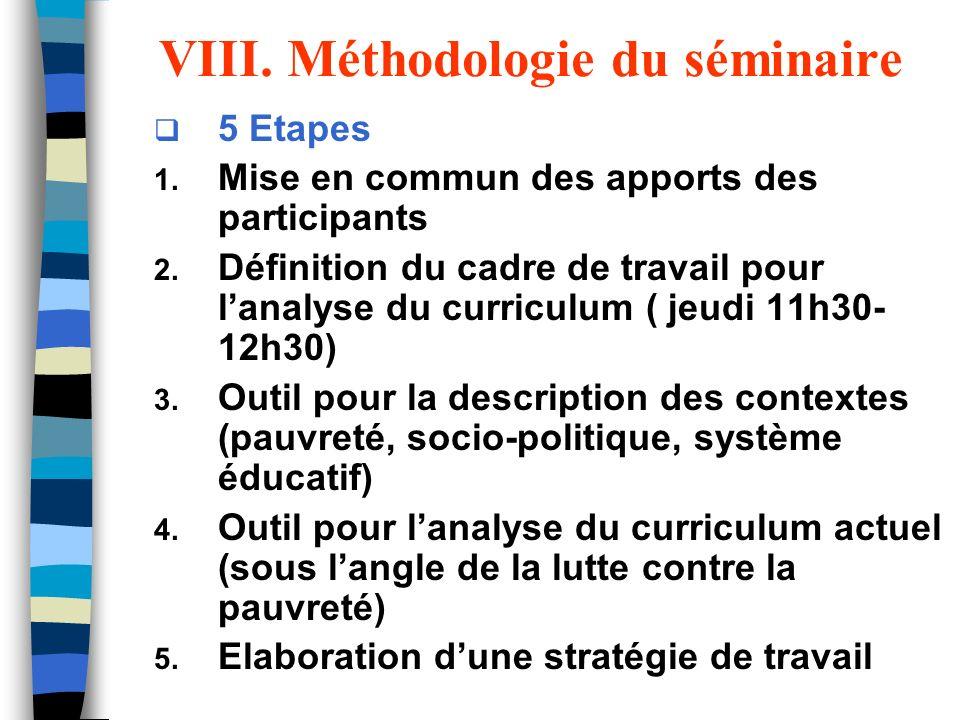 VIII. Méthodologie du séminaire 5 Etapes 1. Mise en commun des apports des participants 2. Définition du cadre de travail pour lanalyse du curriculum