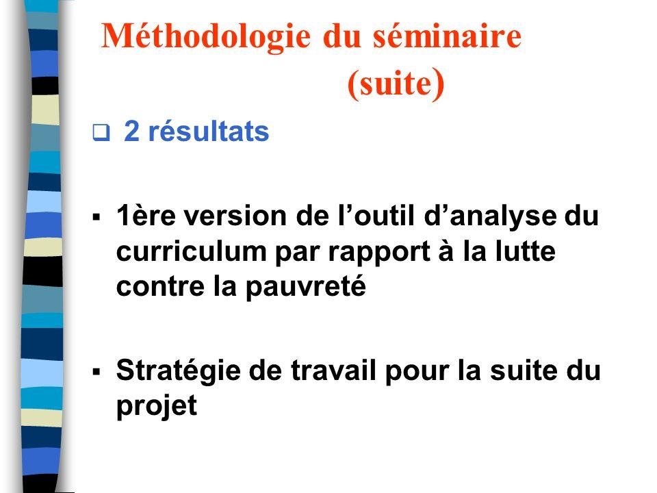 Méthodologie du séminaire (suite ) 2 résultats 1ère version de loutil danalyse du curriculum par rapport à la lutte contre la pauvreté Stratégie de tr