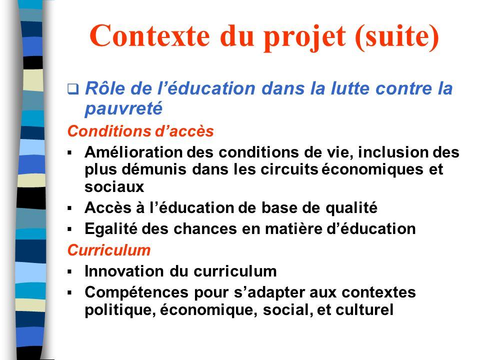 Contexte du projet (suite) Rôle de léducation dans la lutte contre la pauvreté Conditions daccès Amélioration des conditions de vie, inclusion des plu