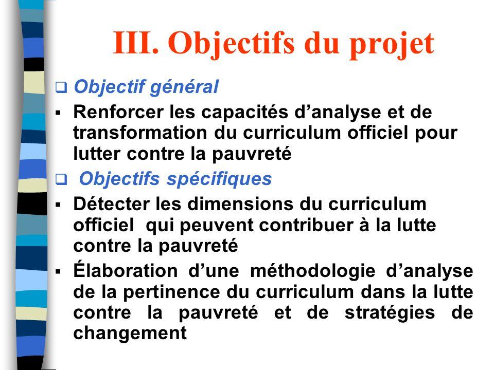 III. Objectifs du projet Objectif général Renforcer les capacités danalyse et de transformation du curriculum officiel pour lutter contre la pauvreté