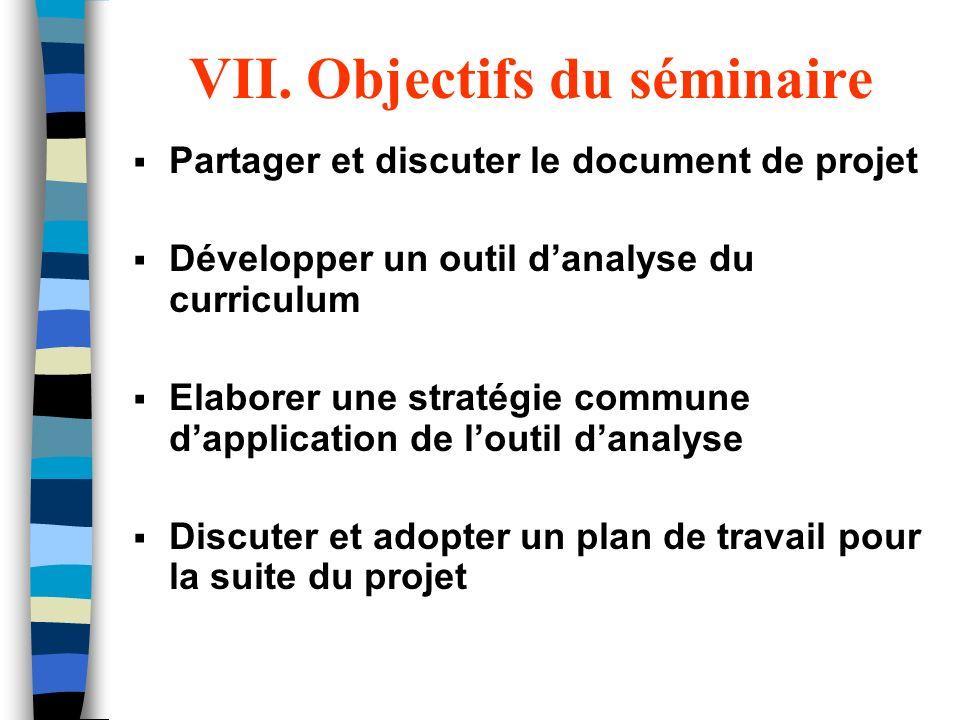 VII. Objectifs du séminaire Partager et discuter le document de projet Développer un outil danalyse du curriculum Elaborer une stratégie commune dappl