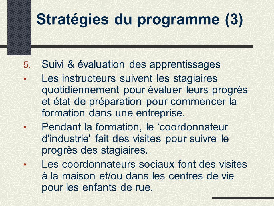 Stratégies du programme (3) 5.